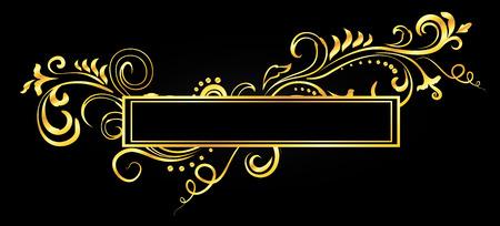 Golden doodle floral ornamental blank frame isolated over black. Vector background illustration.