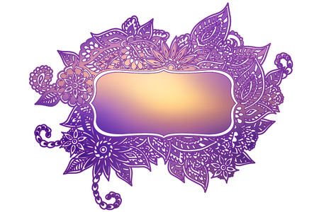 Colored ornate floral doodle frame isolated on white with room for your text. Çizim