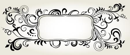 Doodle floral ornamental blank frame in black isolated over white. Vector background illustration. Çizim