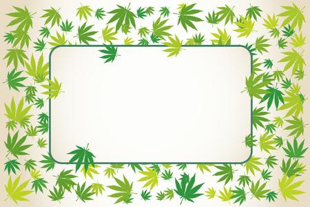 Marijuana green leaves rectangular blank frame. Hand drawn narcotic cannabis border. Hemp vector background illustration.