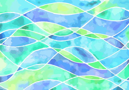 Abstract light blue and green waves vector watercolor painting. Art texture pastel horizontal background.