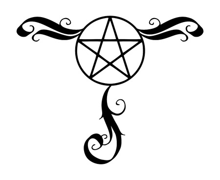 Dekoriertes Pentagramm-Symbol, magisches okkultes Sternsymbol mit Schnörkeln. Vektorillustration in Schwarz lokalisiert über Weiß.