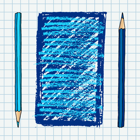 Hand drawn vector doodle illustration blank frame. Blue pencils and strokes art border over squared notebook page.