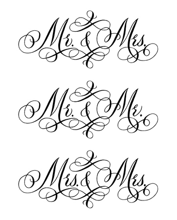Herterosexual and wedding words. Hand written vector design elements set in black isolated over white. Traditional calligraphy.