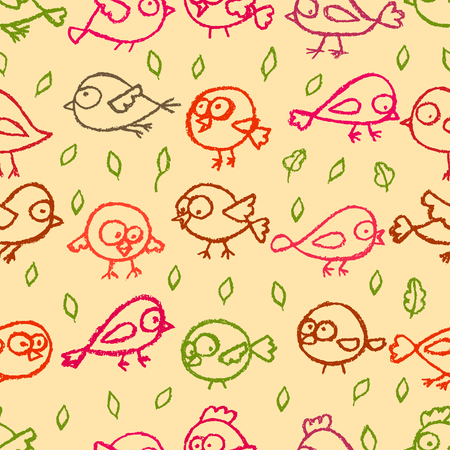 Cute little hand drawn birds and leaves beige seamless pattern. Cartoon vector spring background.