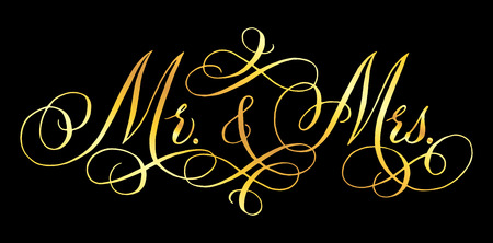 Mr and Mrs wedding words.  Mister and Missis. Hand written vector design element in shiny golden isolated over black. Traditional calligraphy. Imagens - 102586421