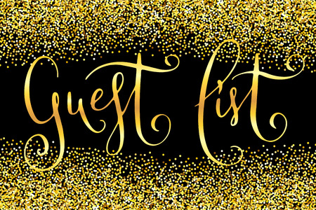 Guest list words. Hand written wedding vector design element over shiny golden glitter confetti and black background. Traditional calligraphy. Ilustração