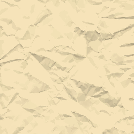 Sheet of vintage brown crumpled paper background texture. Vector illustration backdrop, square format. Archivio Fotografico - 102586543