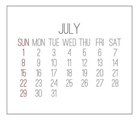 Plain contemporary July year 2018 vector white calendar. Week starting from Sunday. Illustration