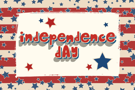 United States Independence Day greeting card. American patriotic design. Hand drawn lettering over brush stroke frame and traditional stars and stripes background.