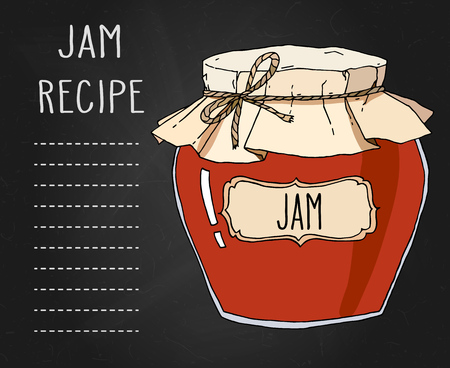 Vector hand drawn illustration with vintage jam jar recipe template. Colored image over black textured background. Archivio Fotografico - 102807200