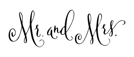 Mr and Mrs wedding words. Mister and Missis hand written vector design element in black isolated over white. Traditional calligraphy. Banco de Imagens - 102807219