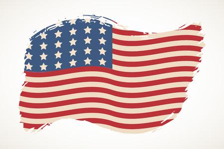 American flag patriotic illustration. Artistic brush stroke isolated over white. United States  Independence day design element. USA stars and stripes backdrop. Reklamní fotografie - 102807517