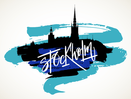 Stockholm skyline hand drawn vector illustration. Black silhouette and blue artistic brush strokes isolated over whte background.
