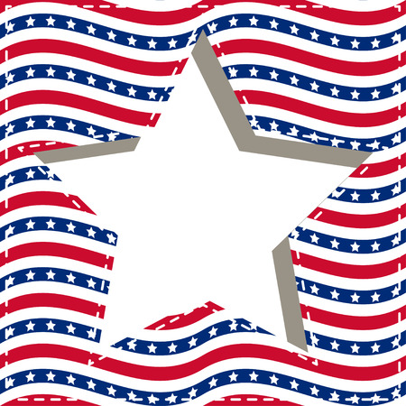 American patriotic paper cut dashed frame with stars and stripes pattern in bright red, blue and white. Independence day vector background. Illustration