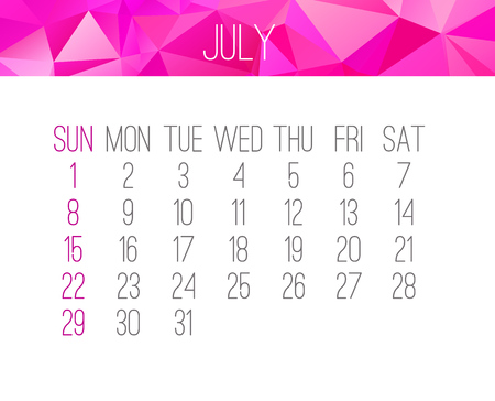 July year 2018 vector calendar. Week starting from Sunday. Contemporary low poly design in pink color.