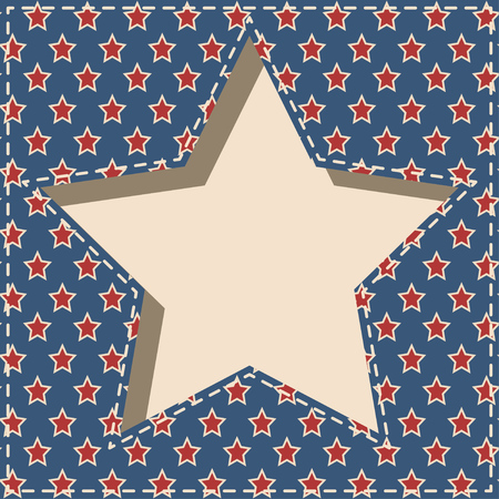 American patriotic paper cut dashed frame with stars pattern in vintage colors.