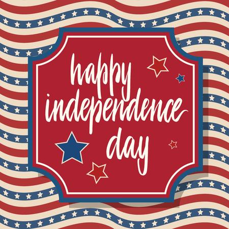 Tarjeta de felicitación del día de la independencia de Estados Unidos. Diseño patriótico americano. Letras dibujadas a mano sobre marco rojo y fondo tradicional de estrellas y rayas.