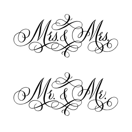 Gay wedding words. Hand written vector design element in black isolated over white. Traditional calligraphy. Ilustração