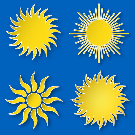 Set of yellow vector paper bright shining suns icons on the sky, isolated over blue.