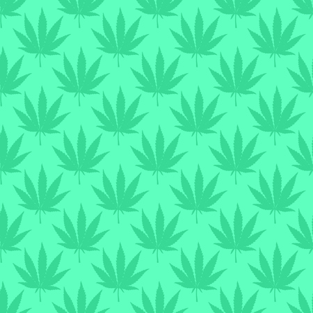 Marijuana leaf light green seamless pattern. Hand drawn narcotic cannabis background. Hemp vector illustration backdrop.