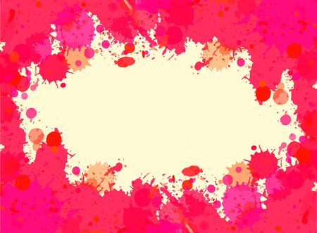 Vibrant bright pink watercolor artistic splashes frame with room for text. Vector illustration, horizontal format. Illustration