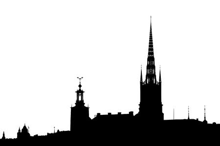 Stockholm skyline background vector illustration. Black silhouette over whte. Illustration