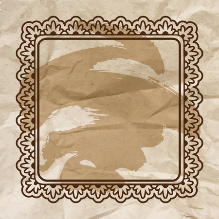 Square floral ornamental blank frame in vintage brown over crumpled craft paper. Vector background illustration with artistic bush stroke. Vettoriali
