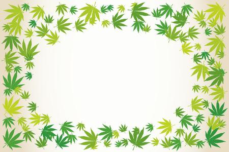 Marijuana light green leaves blank frame over white. Hand drawn narcotic cannabis border. Hemp vector background illustration.