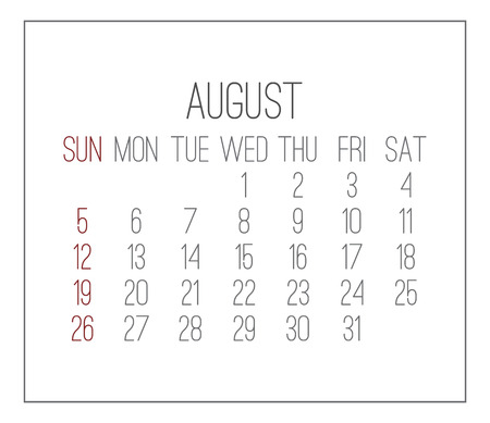 Plain contemporary August 2018 vector white calendar. Week starting from Sunday.