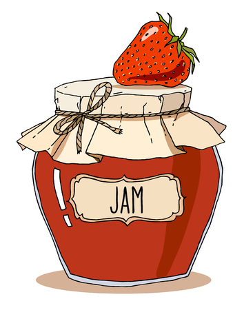 Vector hand drawn illustration with vintage strawberry jam jar with one berry on top, isolated over white. Ilustração