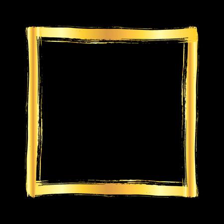 Golden grunge brush stroke square frame isolated over black background. Design element vector illustration.