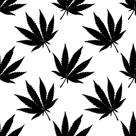 Marijuana leaf seamless pattern. Hand drawn narcotic cannabis background. Hemp vector illustration backdrop in black over white.