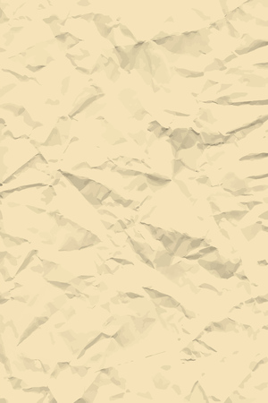 Sheet of old beige crumpled paper background texture. Vector illustration backdrop, vertical format.