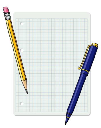 Papelería dibujado a mano vector doodle ilustración marco en blanco. Borde de lápiz grafito y bolígrafo sobre hoja de cuaderno cuadriculada.
