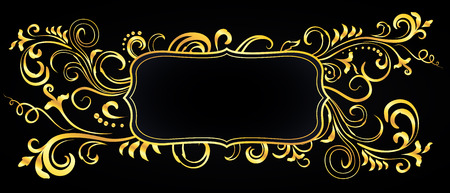 Golden doodle floral ornamental blank frame isolated over black. Vector background illustration.
