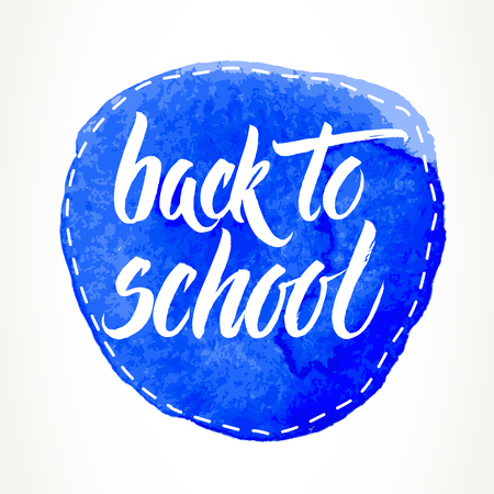Back to school words hand written by brush, white over dashed blue watercolor circle. 일러스트