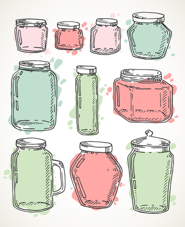 Vector hand drawn pastel colored vintage jars set. Contour sketch illustration isolated over white.