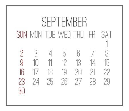 Plain contemporary September year 2018 vector white calendar. Week starting from Sunday. Illustration