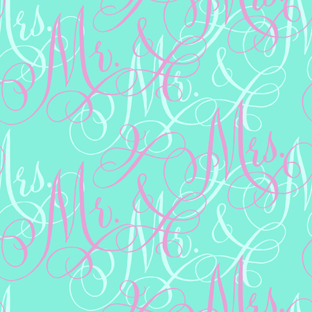 Pink and aqua wedding seamless pattern with hand-written traditional words Mr. and Mrs.