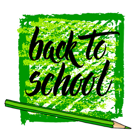 Hand drawn vector Back to School words and a pencil with green strokes square frame isolated over white background.