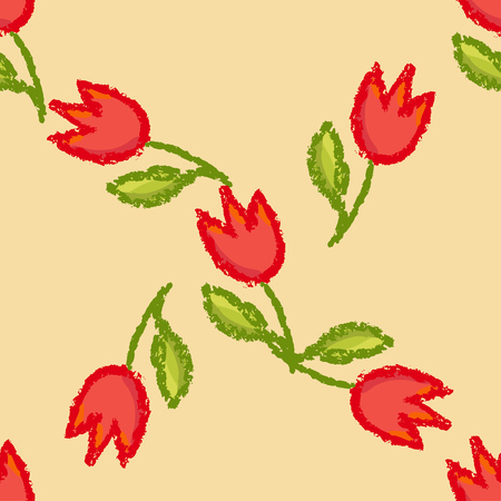 Vector floral hand drawn seamless pattern. Tulip red flowers and gren leaves over vintage brown background. Illustration