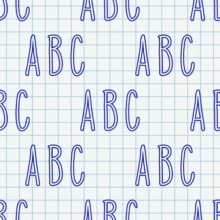 Hand drawn letters seamless pattern. Vector background illustration in blue over chequered notebook sheet. Education school wallpaper design.