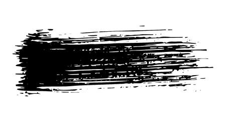 Straight artistic grunge brush paint stroke in black isolated over white background. Design element vector illustration. Ilustração