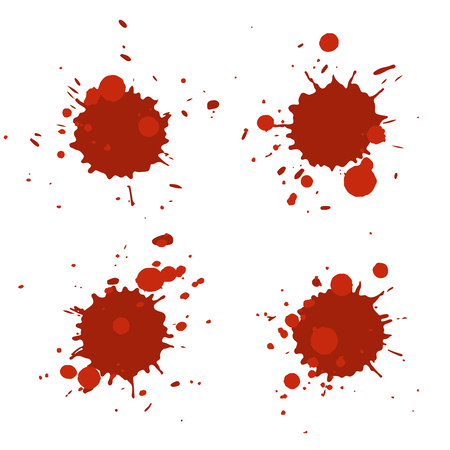 Set of vector abstract artistic paint splashes and drops. Bloody red ink blots isolated over white background.