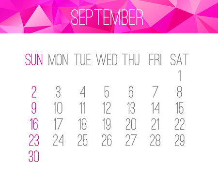 September year 2018 vector calendar. Week starting from Sunday. Contemporary low poly design in pink color.