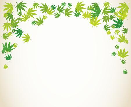 Marijuana light green leaves blank frame. Hand drawn narcotic cannabis border. Hemp vector background illustration.