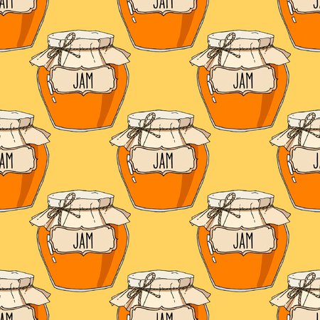 Fruit jam jars seamless pattern. Vector hand drawn background illustration in yellow and orange. Ilustração