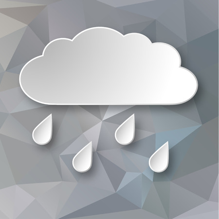Paper 3d raining cloud over grey abstract geometric background.