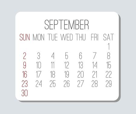 Plain contemporary September year 2018 vector light grey calendar. Week starting from Sunday.